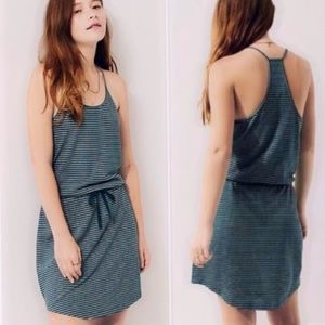 Lou & Grey Striped Linen Blend Drawstring Dress M
